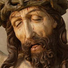 The face of Jesus Christ from late Gothic calvary in the Chapel of St.Ludmila