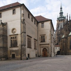 Square of St.George at Prague Castle with the building of the Diet Hall and eastern choir of St.Vitus´Cathedral. Right here, probably, the ceremonial prince´s throne used to stand.