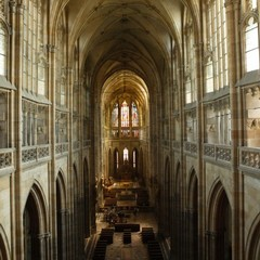 The nave of St. Vitus´s Cathedral – view of the eastern choir. This view is an evidence for technical skill and originality of Peter Parler, chief builder of the Cathedral.